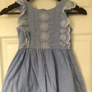 Girls eyelet chambray dress